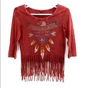 Affliction American Customs Eagle Fringe Tee Small